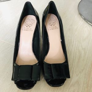 Vince Camuto block heels, patent black, bow at toe